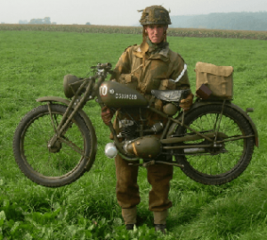 A Royal Enfield motorcycle. Typical design of the world war era.