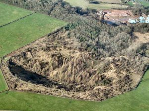 Aerial photo of the Fauld disaster crater.