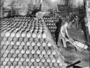 Stacks of 6 inch Howitzer shells